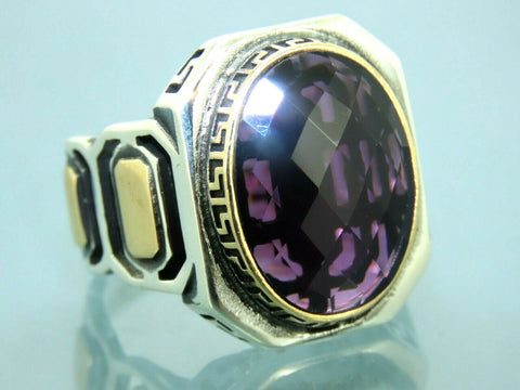 Turkish Handmade Jewelry 925 Sterling Silver Amethyst Stone Men Ring Sz 11