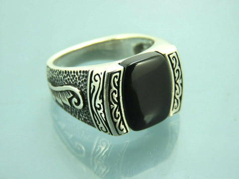 Turkish Handmade Jewelry 925 Sterling Silver Onyx Stone Men Ring Sz 8