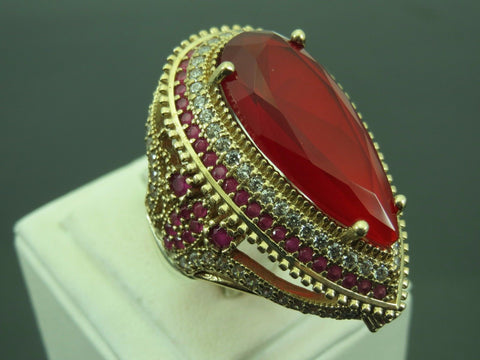 Turkish Handmade Jewelry 925 Sterling Silver Ruby Stone Ladies' Ring