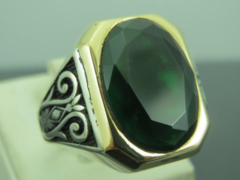 Turkish Handmade Jewelry 925 Sterling Silver Emerald Stone Men Ring