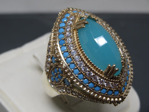 Turkish Handmade Jewelry 925 Sterling Silver Chalcedony Stone Ladies' Ring