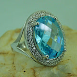 Turkish Handmade Jewelry 925 Sterling Silver Aquamarine Stone Ladies' Ring Sz 8
