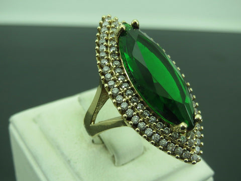 Turkish Handmade Jewelry 925 Sterling Silver Emerald Stone Ladies' Ring