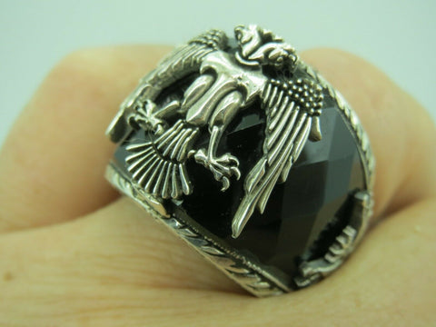 Turkish Handmade Jewelry 925 Sterling Silver Onyx Stone Men's Ring Sz 12