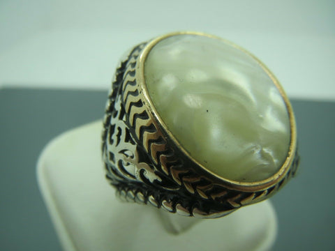Turkish Handmade Jewelry 925 Sterling Silver Pearl Stone Men's Ring Sz 11