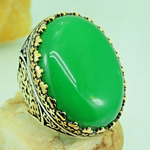 Turkish Handmade Jewelry 925 Sterling Silver Agate Stone Men Ring Sz 11