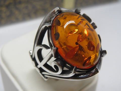 Turkish Handmade Jewelry 925 Sterling Silver Amber Stone Men's Ring Sz 11