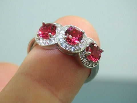 Turkish Handmade Jewelry 925 Sterling Silver Ruby Stone Women Ring Sz 7