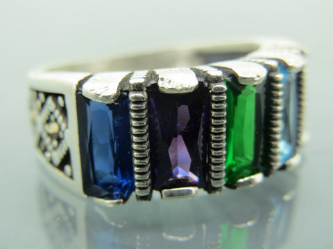 Turkish Handmade Jewelry 925 Sterling Silver Multi Stone Men's Ring Sz 11