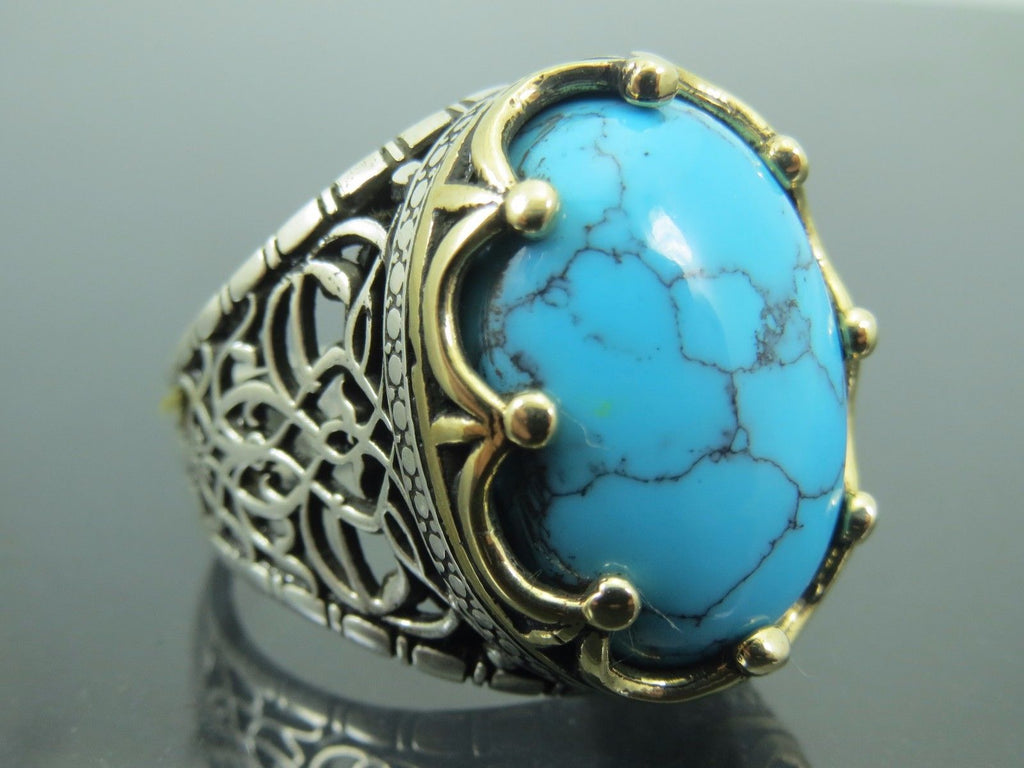 Special Design Turkish Handmade Jewelry 5 Lines Turquoise Stone 925 Sterling Silver Rose Gold Band Ring All Size