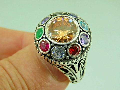 Turkish Handmade Jewelry 925 Sterling Silver Quartz Stone Men Ring Sz 11