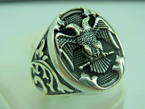 Turkish Handmade Jewelry 925 Sterling Silver Eagle Desing Men Ring Sz 9