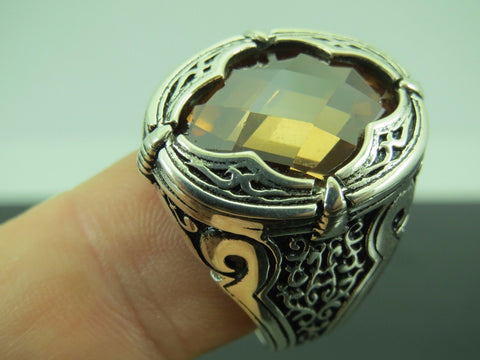 Turkish Handmade Jewelry 925 Sterling Silver Quartz Stone Men's Ring