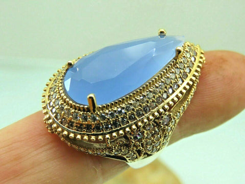 Turkish Handmade Jewelry 925 Sterling Silver Chalcedony Stone Women Ring Sz 8