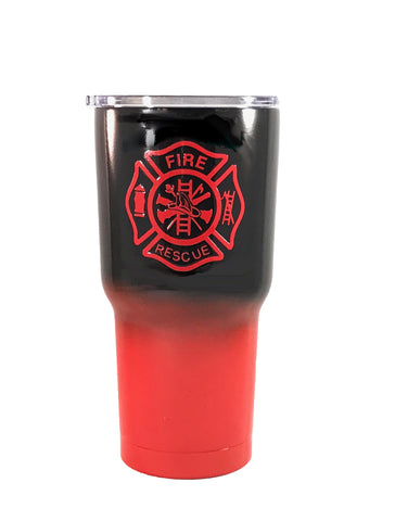 Firefighter - 30 oz Custom Ombre' Powder Coated Custom Coated Cups Tumbler - (Logo is SEALED)