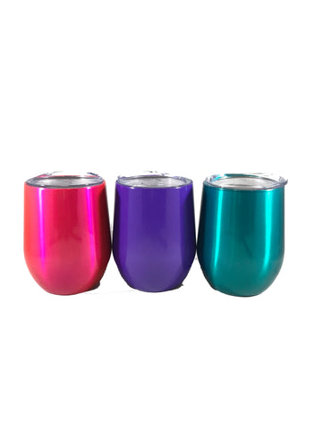 10 oz Stemless Stainless Steel Custom Yeti Style Wine Glass - Custom Powder Coated - choice of color