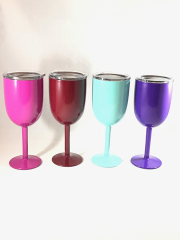 10 oz Stainless Steel Long Stem Custom Yeti Style Wine Glass - Custom Powder Coated - choice of color