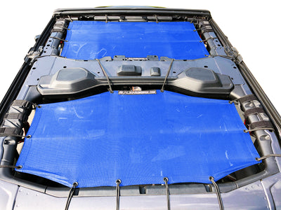 Alien Sunshade Jeep Wrangler JLU 4 Door Blue Front & Rear Combo Sun Shade Mesh Kit