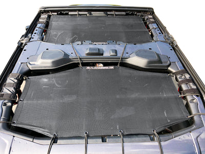 Alien Sunshade Jeep Wrangler JLU 4 Door Black Front & Rear Combo Sun Shade Mesh Kit