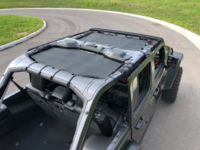 Alien Sunshade Jeep Wrangler JLU 2-Piece Front & Rear Sun Shade Mesh Top Combo for 4-Door - 2018-2019 (New Body Style)