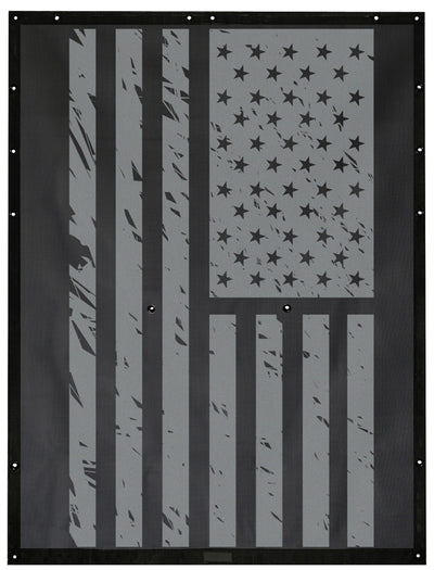 Tactical USA Flag Grunge Black & Gray Alien Sunshade Jeep Wrangler JK 2-Door JKFB Sun Shade Mesh Top