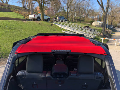 Jeep Wrangler JL Sun Shade Mesh Top Rear View Cherry Red - Alien Sunshade