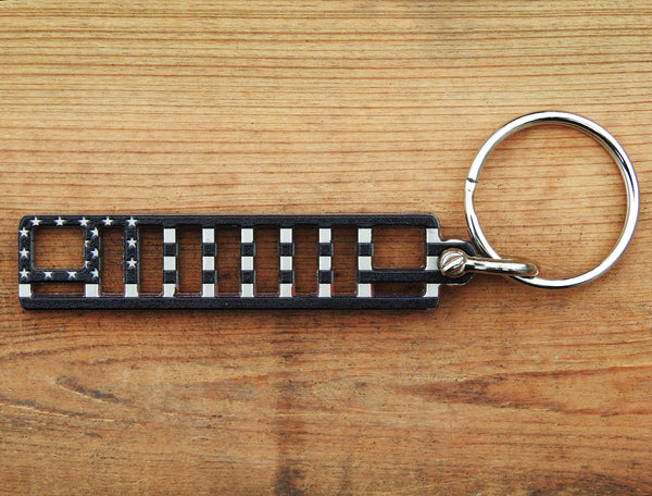 Alien Sunshade Jeep Cherokee XJ Grill Keychain with D-Ring Connector - Laser Cut Stainless Steel