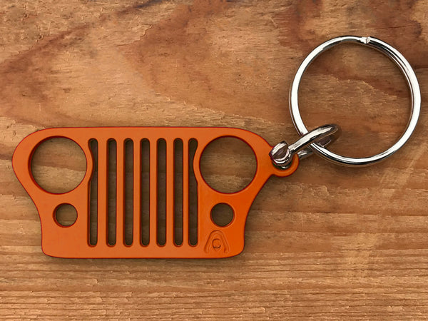 Alien Sunshade Jeep CJ Grill Keychain with D-Ring Connector - Laser Cut Stainless Steel