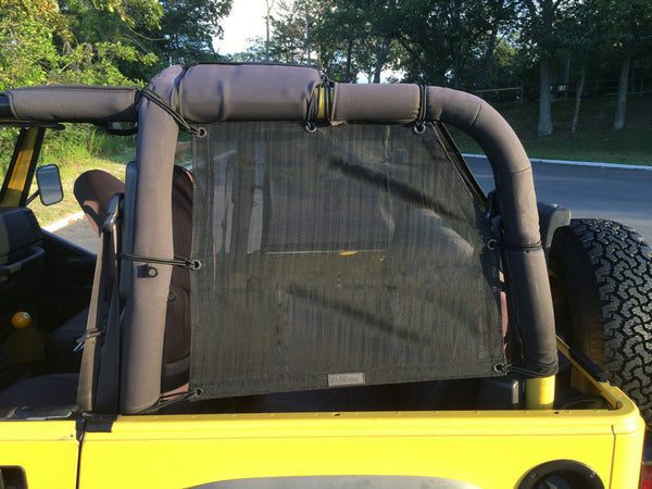 Jeep Wrangler Mesh Cage Side Shades with 10 Year Warranty Protect Your Cargo Area and Rear Passengers From Harmful UV Rays for Your TJ (1997-2006)