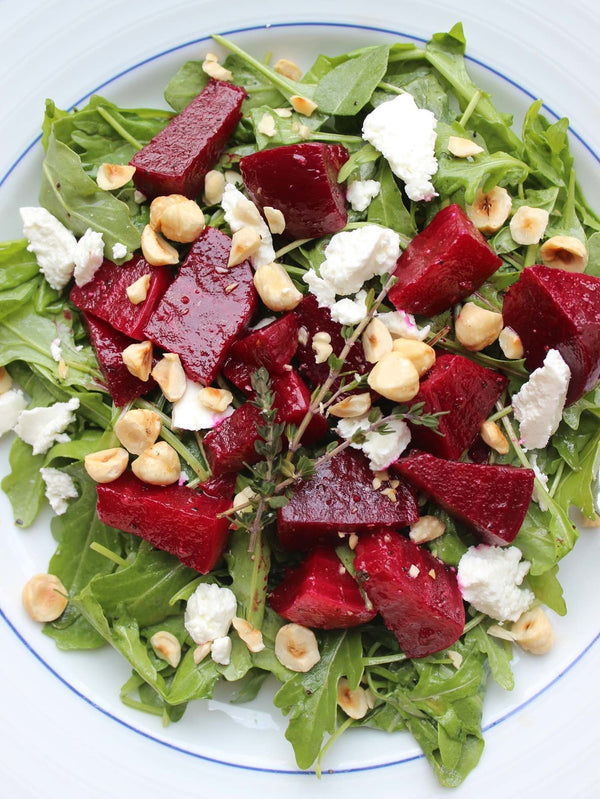 Roasted Oregon Beet Salad with Goat Cheese and Toasted Hazelnuts
