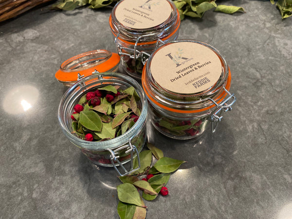 Wintergreen - Dried Leaves & Berries in 8oz Grosch Jar