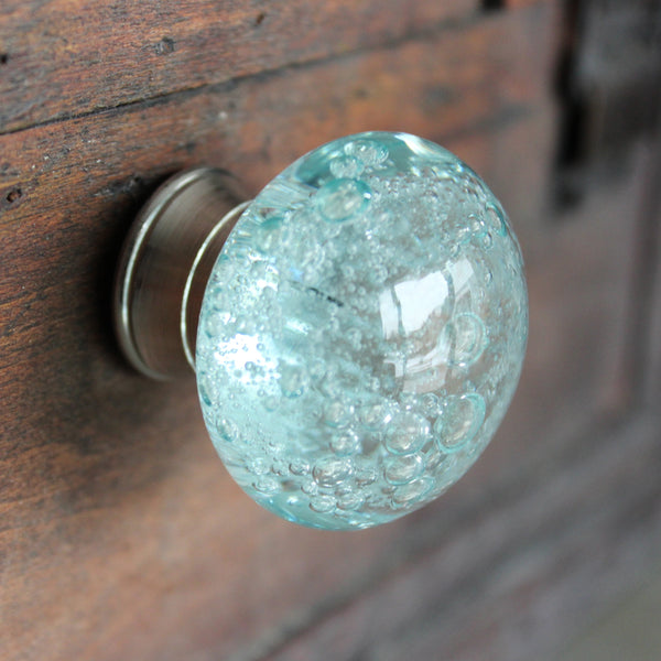 Glass bubble drawer knobs Drawer knobs with bubbles glass drawer knobs aqua blue