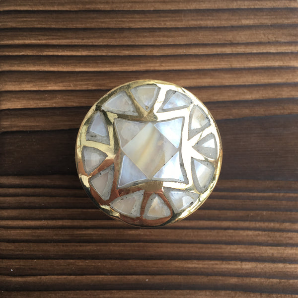 Mother of Pearl Round Drawer Knob with Gold Details
