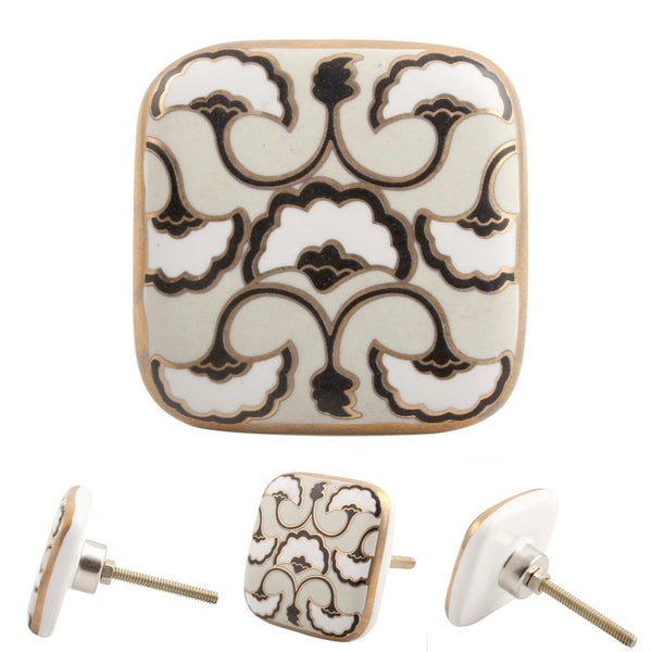 Beige Art Deco Square Cabinet Knobs