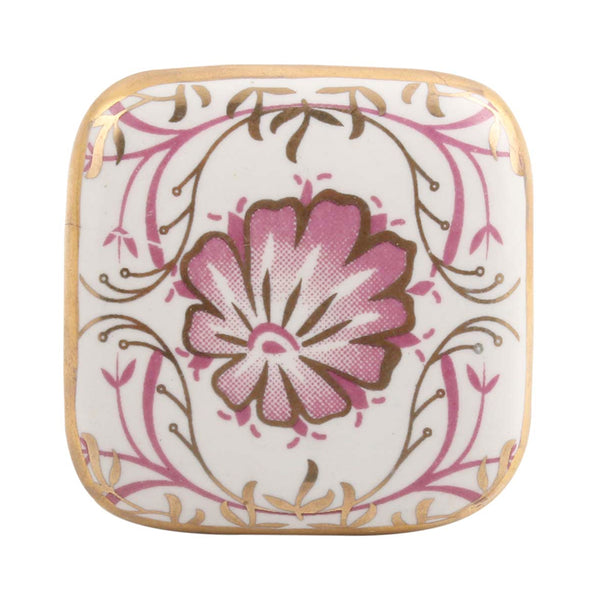 Square Art Deco Drawer Knobs in Pink with gold trim