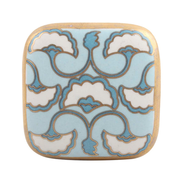 Art Deco Drawer Knobs with blua and white floral pattern and gold trim