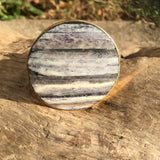 Gray and White Bone Inlay Drawer Knobs - Cabinet Knobs with Stripes