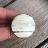 Cream and Beige Bone Inlay Drawer Knobs - Cabinet Knobs with Stripes