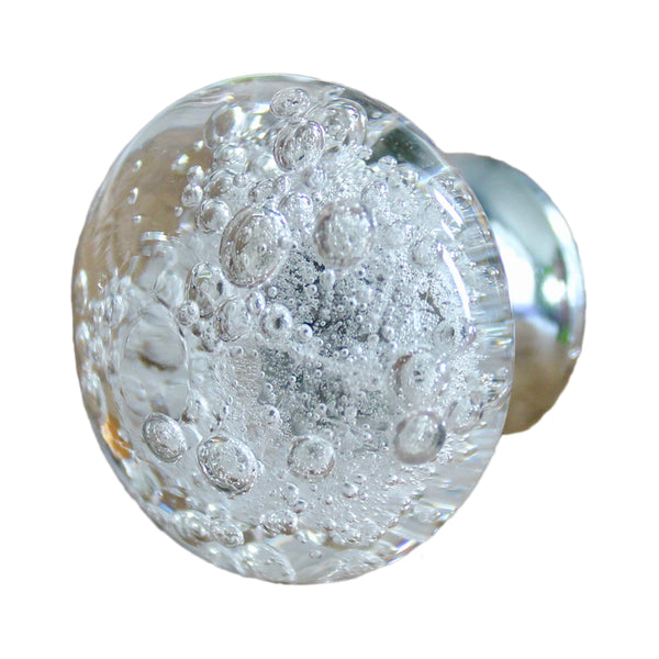 Clear Glass Bubble Knobs with Silver Hardware