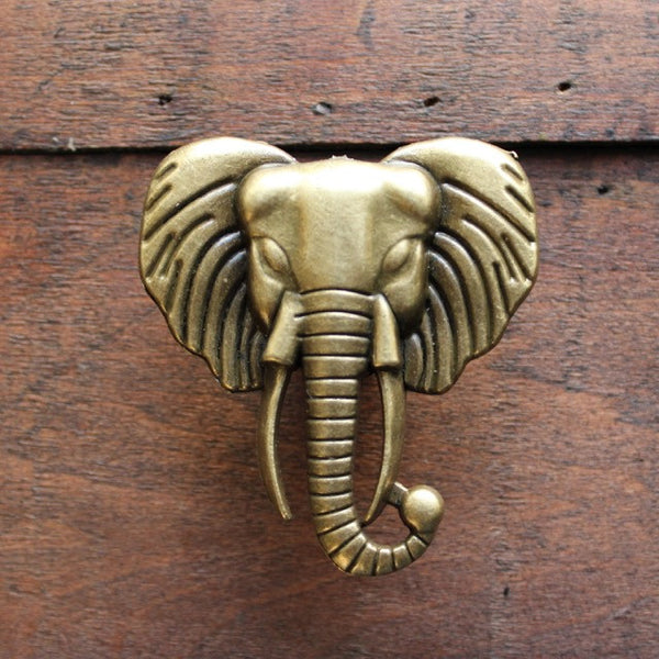 Elephant dresser knobs in brass