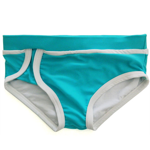 Aqua / White Swim Trunks