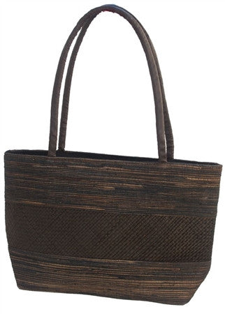 BLACK PALM LEAF HANDBAG