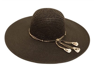 BLACK WIDE BRIM CROCHET HAT