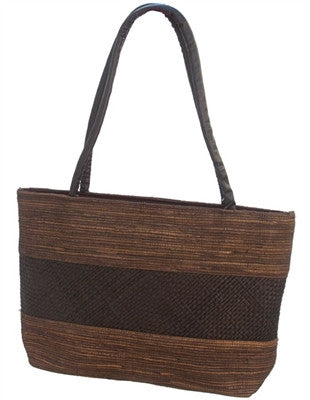 BROWN PALM LEAF HANDBAG