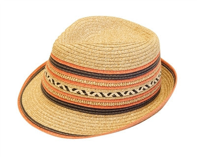 CORAL STRIPED FEDORA