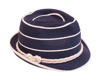 NAVY NAUTICAL STRIPED FEDORA
