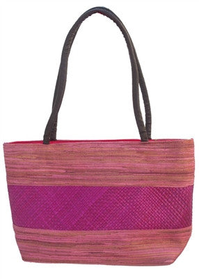 PINK PALM LEAF HANDBAG