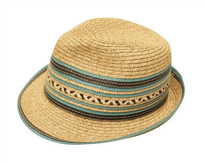 TORQUOISE STRIPED FEDORA