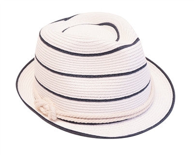 WHITE NAUTICAL STRIPED FEDORA