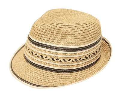 WHITE STRIPED FEDORA